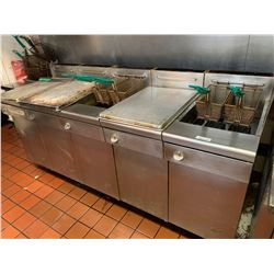 Quest 5 bank gas deep fry system . includes baskets. buyer must drain oil responsibly. â