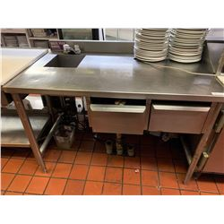 Stainless 5 foot worktable with wash sink and drawers  NOTE: ALL DISCONNECTIONS