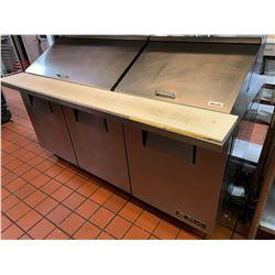 True 6 foot refrigerated sandwich prep table on wheels