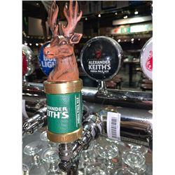 Lot of 2 beer tap handle & display plaque - Alexander Keiths