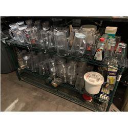 Green Metal metro rack with beer pitchers