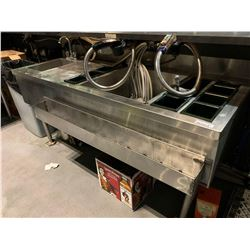 Stainless 5 foot cocktail sink with taps and inserts ( does not include dispensing equipment) 