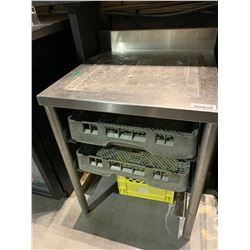Stainless 24 inch glass rack table with back splash