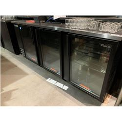 True Model TBB-4G-HC-LD triple door back bar glass front cooler