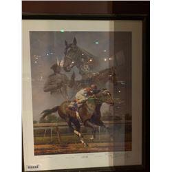 Framed horse racing print-cigar