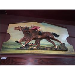 Vintage style wooden horse race sign - mounted on wall-buyer must remove