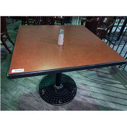 Square single pedestal Restaurant Table - 38 x 38 inches, metal base