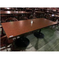 Rectangular Double pedestal restaurant Table - 38 x 84 inches, metal base