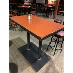 Rectangular double pedestal Bar Table - 30 x 46 inches, metal base