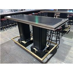 Grey Rectangular Bar Table - 24 x 74 inches with brass foot railing