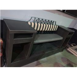 Large Double End Shoe Polish Style Bench with side storage - approx . 10 ft long
