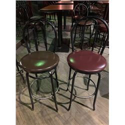 Metal High Back Swivel Bar Stool - Vinyl Seat