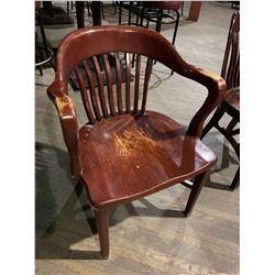 Solid Oak Slate Back Restaurant Arm Chair