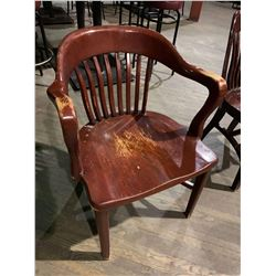 Solid Oak Slate Back Restaurant Arm Chair