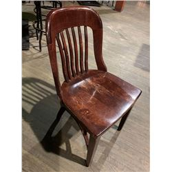 Solid Oak Slate Back Side Chair No Arms