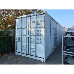 BRAND NEW 40' HIGH CUBE SHIPPING CONTAINER WITH 2 LARGE SIDE DOUBLE SWING DOORS AND 1 REAR DOUBLE