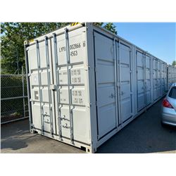 BRAND NEW 40' HIGH CUBE SHIPPING CONTAINER WITH 4 SIDE DOUBLE SWING DOORS AND 1 REAR DOUBLE