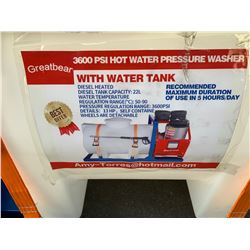 GREATBEAR PSI 4000 HOT WATER PRESSURE WASHER WITH WATER TANK (1650 L CAPACITY)