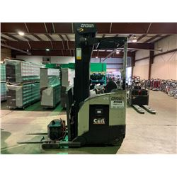 CROWN 5200 SERIES 2 STAGE RIDE ON ELECTRIC REACH TRUCK WITH DOUGLAS BATTERY LEGAC2 CHARGER