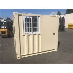 BRAND NEW 8' SHIPPING STORAGE CONTAINER, PORTABLE OFFICE, WITH DOOR, WINDOW AND REAR DOOR