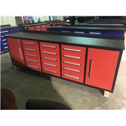 RED STEELMAN 10FT WORK BENCH WITH 15 DRAWERS, 2 CABINETS WITH LOCK AND ANTI-SLIP LINERS