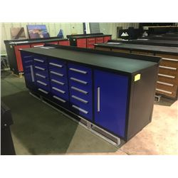 BLUE STEELMAN 10FT WORK BENCH WITH 15 DRAWERS, 2 CABINETS WITH LOCK AND ANTI-SLIP LINERS