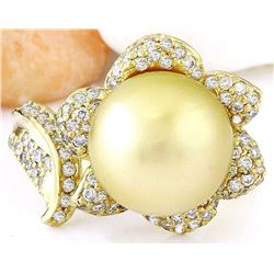 11.28 mm Gold South Sea Pearl 14K Solid Yellow Gold Diamond Ring