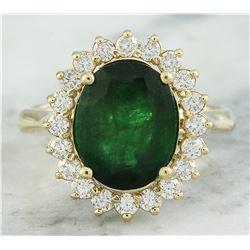 4.20 CTW Emerald 18K Yellow Gold Diamond Ring