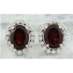 4.00 CTW Garnet 18K White Gold Diamond Errings