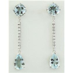 10.50 CTW Aquamarine 14K White Gold Diamond Earrings