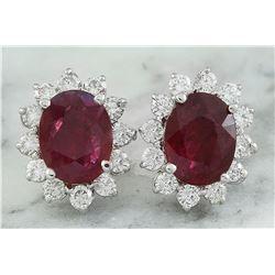 4.31 CTW Ruby 18K White Gold Diamond Earrings