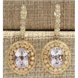 12.30 CTW Natural Morganite And Diamond Earrings 18K Solid Yellow Gold