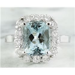 4.55 CTW Aquamarine 18K White Gold Diamond Ring