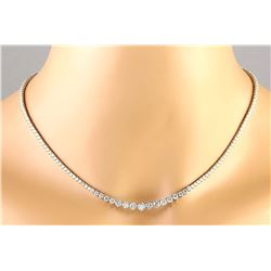 15.00 CTW Natural Diamond 18K Solid White Gold Necklace