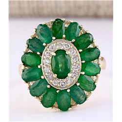 4.10 CTW Natural Emerald And Diamond Ring In 14k Yellow Gold