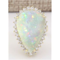 14.02 CTW Natural Opal And Diamond Ring In 14K Yellow Gold