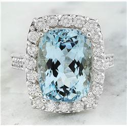9.15 CTW Aquamarine 14K White Gold Diamond Ring