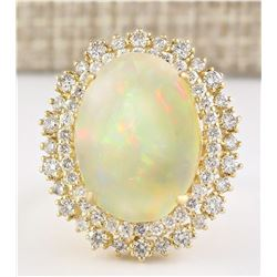 9.91 CTW Natural Opal And Diamond Ring In 14k Yellow Gold