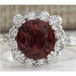 4.66 CTW Natural Pink Tourmaline And Diamond Ring 14K Solid White Gold