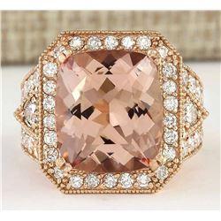 12.34 CTW Natural Morganite And Diamond Ring In 18K Rose Gold