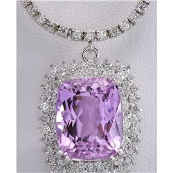 24.17 CTW Natural Kunzite And Diamond Necklace In 18K White Gold