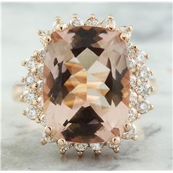 8.25 CTW Morganite 14K Rose Gold Diamond Ring