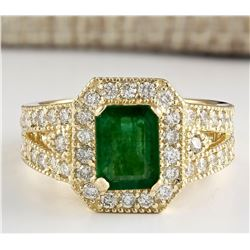 2.60 CTW Natural Emerald And Diamond Ring In 18K Yellow Gold
