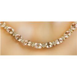61.50 Carats Morganite 14K Yellow Gold Diamond Necklace