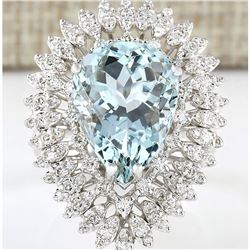 8.52 CTW Natural Aquamarine And Diamond Ring In 18K Solid White Gold
