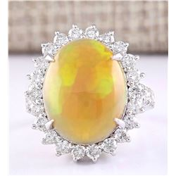 8.63 CTW Natural Opal And Diamond Ring In 14k White Gold