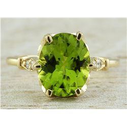 3.41 CTW Peridot 14K Yellow Gold Diamond Ring