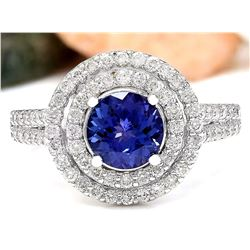 2.55 CTW Natural Tanzanite 18K Solid White Gold Diamond Ring