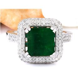 4.33 CTW Natural Emerald 18K Solid White Gold Diamond Ring