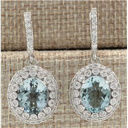 7.34 CTW Natural Aquamarine And Diamond Earrings 18K Solid White Gold